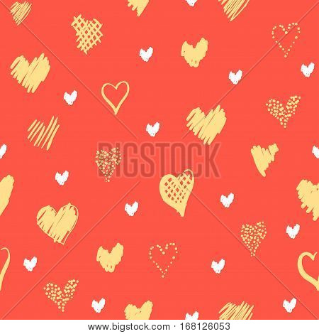 Romantic pattern with hearts. Elements hand-drawn style sketch. Perfect for holidays decoration Valentines day, packaging, print on fabrics and other. Yellow and white hearts on orange background