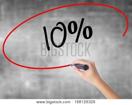 Woman Hand Writing 10%  With Black Marker Over Transparent Board