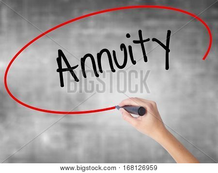 Woman Hand Writing Annuity With Black Marker Over Transparent Board