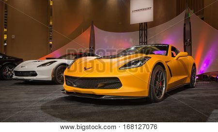 DETROIT MI/USA - JANUARY 11 2015: Two Lingenfelter Chevrolet Corvette C7 cars at The Gallery an event sponsored by the North American International Auto Show (NAIAS) and the MGM Grand Detroit.