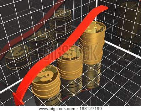 Business picture about analysis - graph arrow and coins 3D illustration.