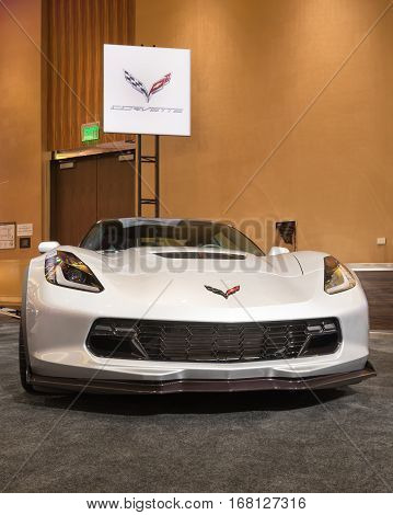 DETROIT MI/USA - JANUARY 11 2015: Chevrolet Corvette Z06 at The Gallery an event sponsored by the North American International Auto Show (NAIAS) and the MGM Grand Detroit.