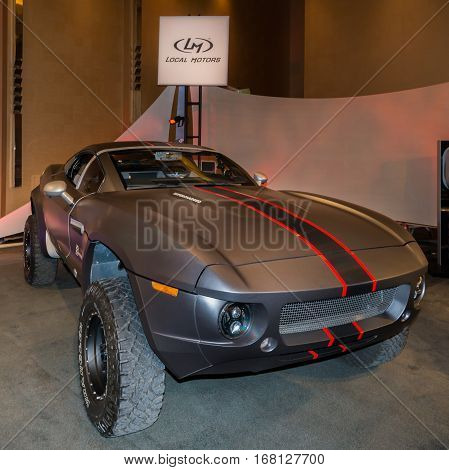DETROIT MI/USA - JANUARY 11 2015: Local Motors Rally Fighter at The Gallery an event sponsored by the North American International Auto Show (NAIAS) and the MGM Grand Detroit.