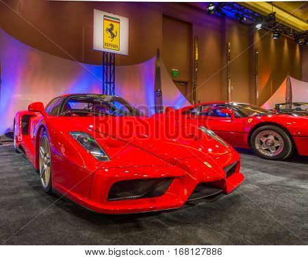 DETROIT MI/USA - JANUARY 11 2015: Ferrari Enzo at The Gallery an event sponsored by the North American International Auto Show (NAIAS) and the MGM Grand Detroit.