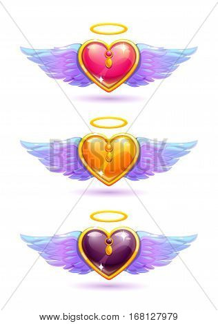 Beautiful glossy colorful hearts with angel wings and nimbus. Love concept. Vector icons set, isolated on white.