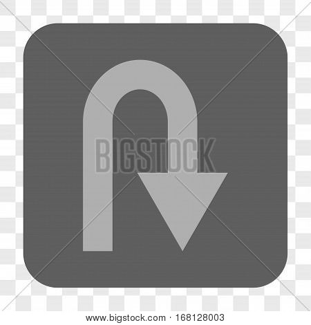 U Turn interface toolbar button. Vector icon style is a flat symbol in a rounded square button light gray and gray colors chess transparent background.
