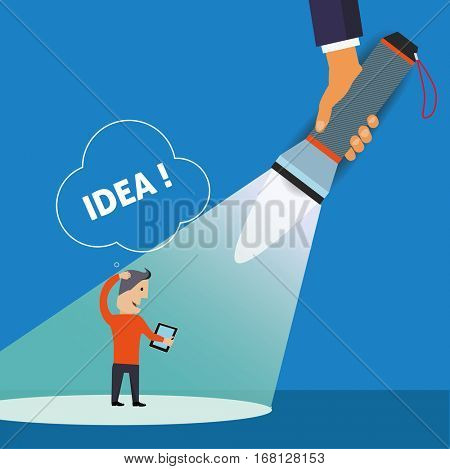 Flashlight and Businessman. Idea Symbol