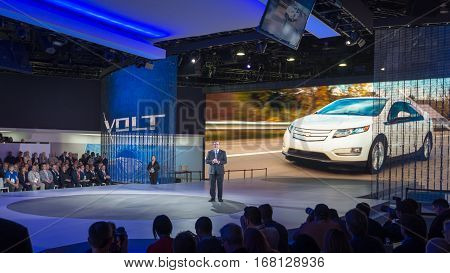 DETROIT MI/USA - JANUARY 12 2015: GM North America President Alan Batey / 2016 Chevrolet Volt reveal at the North American International Auto Show (NAIAS).