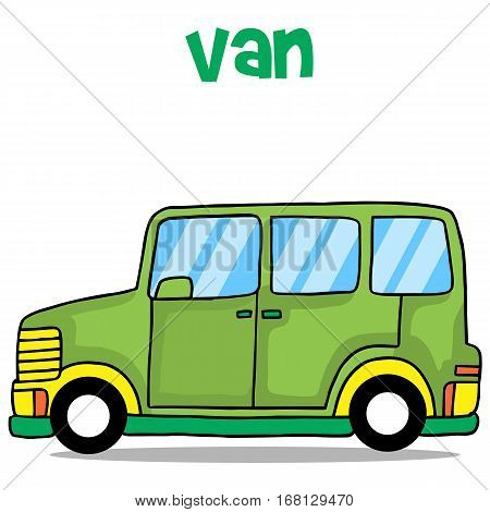 Illustration of green van cartoon collection stock