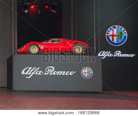 DETROIT MI/USA - JANUARY 12 2015: 1967 Alfa Romeo 33 Stradale at the North American International Auto Show (NAIAS) one of the most influential car shows in the world each year.
