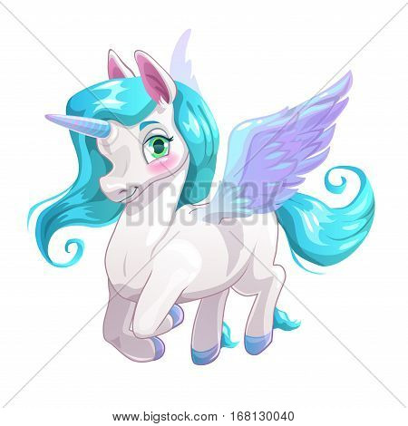 Cute white cartoon beautiful Pegasus with blue hair. Vector illustration.