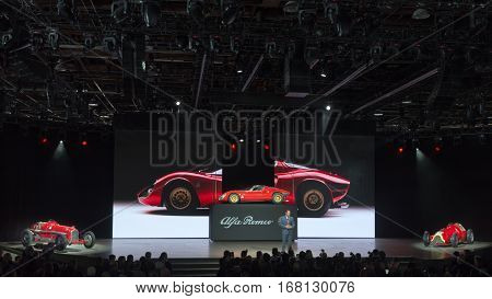 DETROIT MI/USA - JANUARY 12 2015: Chrysler executive Reid Bigland / Alfa Romeo 4C Spider revel at the North American International Auto Show (NAIAS) one of the most influential car shows in the world each year.