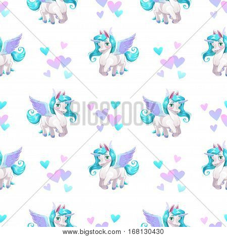 Seamless pattern with cute cartoon pegasus character and hearts. Vector childish texture.