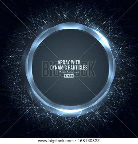 Array Vector With Dynamic Particles. Round Shape Of Particles Array. Graphic Abstract Background With Lighting Effect