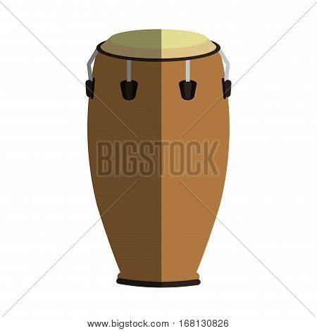 conga drum instrument icon over white background. colorful design. vector illustration