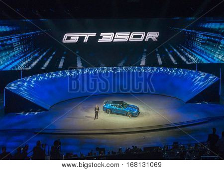 DETROIT MI/USA - JANUARY 12 2015: Ford Group VP & CTO Raj Nair / Shelby Mustang GT350R reveal at the North American International Auto Show (NAIAS) one of the most influential car shows in the world each year.