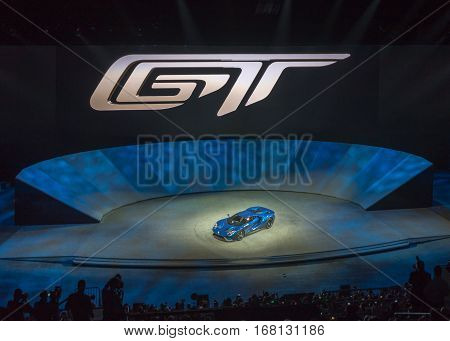 DETROIT MI/USA - JANUARY 12 2015: 2016 Ford GT at the North American International Auto Show (NAIAS) one of the most influential car shows in the world each year. 2015 EyesOn Design Best Designed Production Vehicle