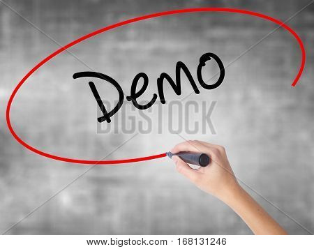 Woman Hand Writing Demo  With Black Marker Over Transparent Board