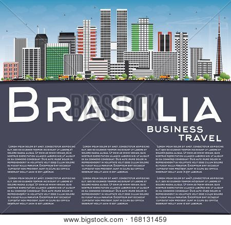 Brasilia Skyline with Gray Buildings, Blue Sky and Copy Space. Business Travel and Tourism Concept with Modern Architecture. Image for Presentation Banner Placard and Web Site.