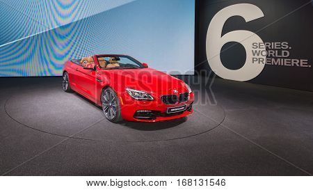 DETROIT MI/USA - JANUARY 12 2015: BMW 650i convertible at the North American International Auto Show (NAIAS) one of the most influential car shows in the world each year.