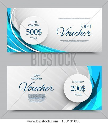 Gift company voucher template on two and five hundred dollars with gray slanting striped background and blue wavy curved lines pattern. Vector illustration
