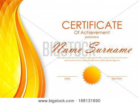 Certificate of achievement template with orange digital wavy bright background and seal. Vector illustration