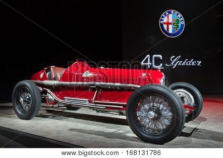 DETROIT MI/USA - JANUARY 12 2015: 1932 Alfa Romeo Tipo B P3 Grand Prix racecar at the North American International Auto Show (NAIAS). Drivers Tazio Nuvolari and Rudolf Caracciola.