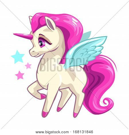 Cute vector girlish illustration with funny baby unicorn on white background. T shirts print design element.