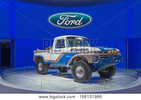 DETROIT MI/USA - JANUARY 12 2015: 1966 Ford F-100 NORRA race truck driven by Team Abatti at the North American International Auto Show (NAIAS).