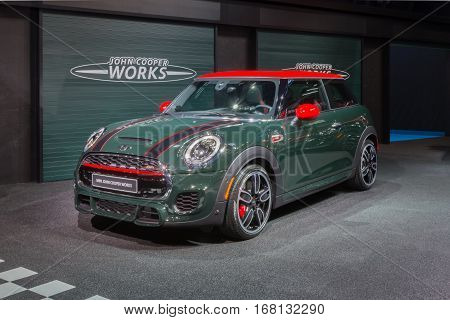 DETROIT MI/USA - JANUARY 12 2015: 2016 John Cooper Works Mini at the North American International Auto Show (NAIAS) one of the most influential car shows in the world each year.