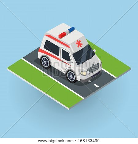 Ambulance car on the road. Top view on emergency medical evacuation machine. Flat 3d isometric high quality city service ambulance car. First aid transport. Vector