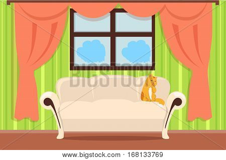 Apartment interior concept vector. Flat style. Room view with cat on sofa and curtains on window. Home cosiness, and comfort living place. illustration for real estate, interior design company ad