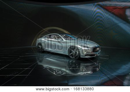 DETROIT MI/USA - JANUARY 12 2015: Infiniti Q60 concept car at the North American International Auto Show (NAIAS) one of the most influential car shows in the world each year.