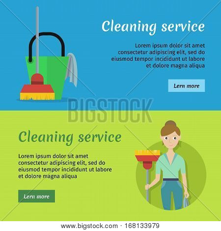 Set of cleaning service banners with cleaning equipment. Woman in green uniform with red mop. House cleaning service, professional office cleaning, home cleaning, domestic cleaning service.