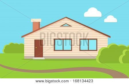 Big family house. Beige house with brown roof. Home house in flat design style. Colorful residential hous. Vacation home, building, house exterior, real estate, family house, modern house.