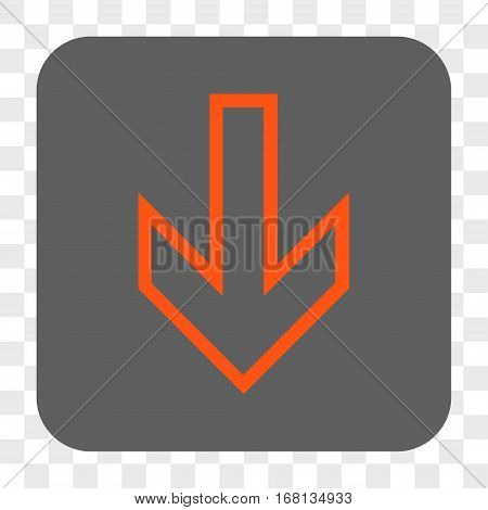 Arrow Down interface toolbar button. Vector icon style is a flat symbol on a rounded square button orange and gray colors chess transparent background.
