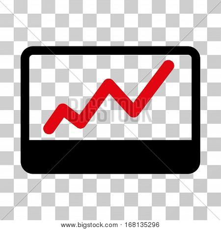 Stock Market icon. Vector illustration style is flat iconic bicolor symbol, intensive red and black colors, transparent background. Designed for web and software interfaces.