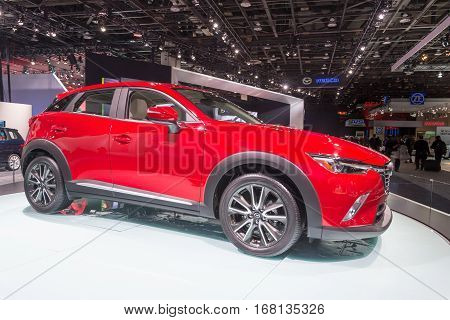 DETROIT MI/USA - JANUARY 13 2015: Mazda CX-3 at the North American International Auto Show (NAIAS) one of the most influential car shows in the world each year.