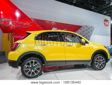 DETROIT MI/USA - JANUARY 13 2015: 2016 Fiat 500X the North American International Auto Show (NAIAS) one of the most influential car shows in the world each year.