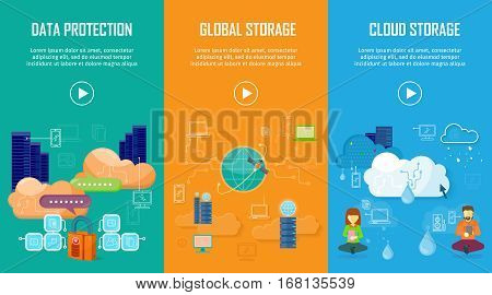 Data protection global storage cloud storage banners set. Online storage concept. Storage and cloud, cloud computing, cloud backup, data network internet web connection. Saving information. Vector