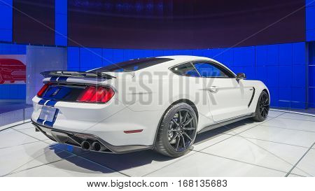 DETROIT MI/USA - JANUARY 13 2015: Ford Shelby GT 350 Mustang at the North American International Auto Show (NAIAS) one of the most influential car shows in the world each year.