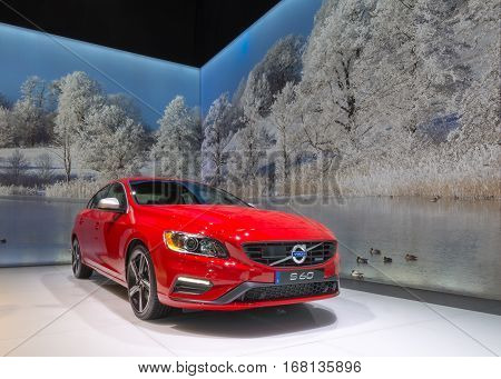 DETROIT MI/USA - JANUARY 13 2015: Volvo S60 car at the North American International Auto Show (NAIAS) one of the most influential car shows in the world each year.