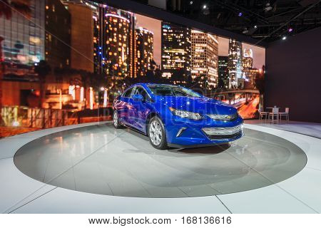 DETROIT MI/USA - JANUARY 13 2015: 2016 Chevrolet Volt at the North American International Auto Show (NAIAS) one of the most influential car shows in the world each year.