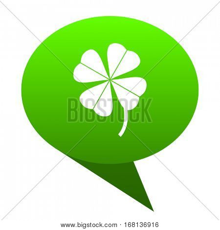 four-leaf clover green bubble web icon