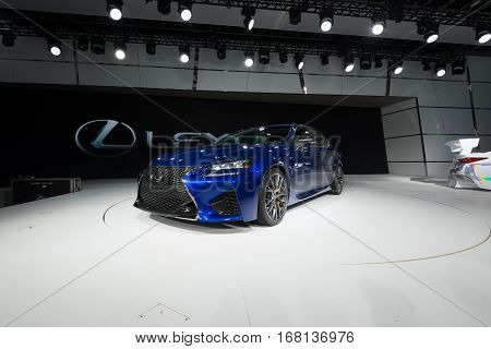 DETROIT MI/USA - JANUARY 13 2015: Lexus RCF GT3 car at the North American International Auto Show (NAIAS) one of the most influential car shows in the world each year.