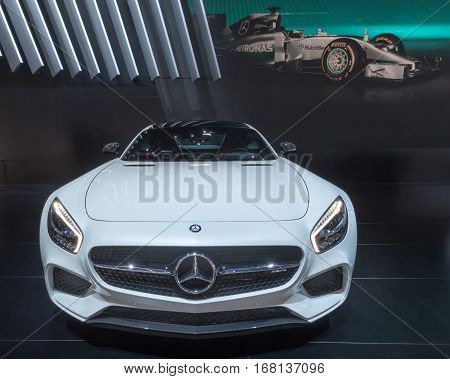 DETROIT MI/USA - JANUARY 14 2015: Mercedes AMG GT S car at the North American International Auto Show (NAIAS) one of the most influential car shows in the world each year.