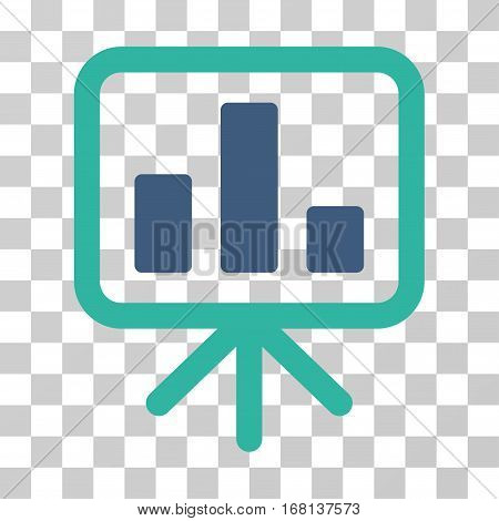 Bar Chart Display icon. Vector illustration style is flat iconic bicolor symbol, cobalt and cyan colors, transparent background. Designed for web and software interfaces.