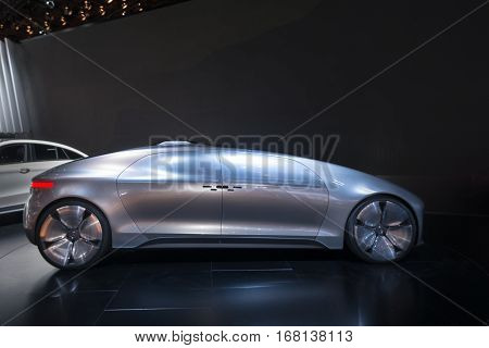 DETROIT MI/USA - JANUARY 14 2015: Mercedes F 015 Concept car at the North American International Auto Show (NAIAS) one of the most influential car shows in the world each year.