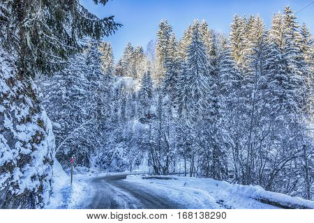 Beautiful road in Alps during the winter season.