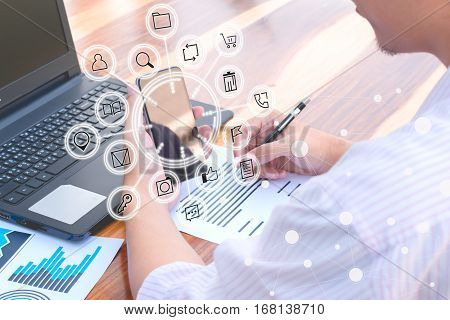 Business Technology Concept,business People Use Smartphone And Laptop